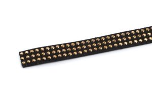 suede band 10mm black with rivets gold x3m