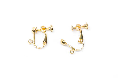 brass adjustable earring with buckle golden 9X13mm x20pce