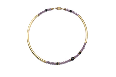 COLLIER TUBE ROND bronze mauve