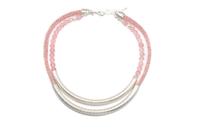 COLLIER TUBE STRIE CORDE POLY vieux rose