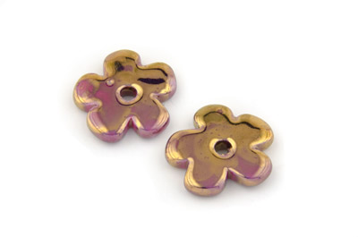 flower 25mm fuchsia bronze x12pcs