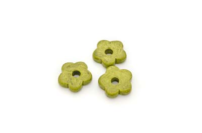 flower ceramic matt 15mm kaki x50pcs