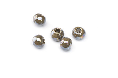 ceramic bead 8mm dark khaki x25pcs