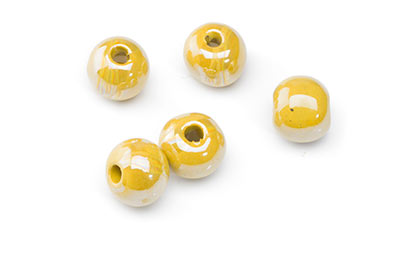 perle céramique 12mm jaune moutarde x20pcs