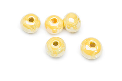 ceramic bead 12mm yellow x20pcs