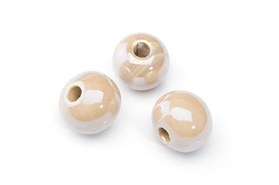 ceramic bead 15mm dark cream x12pcs