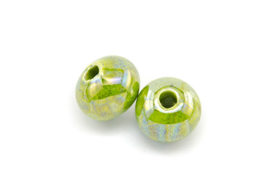 ceramic round bead 15mm electric green x12pcs