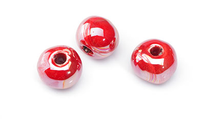 15mm red glossy ceramic bead x12pcs