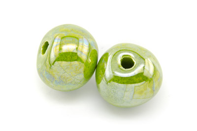 ceramic round bead 22mm electric green x12pcs