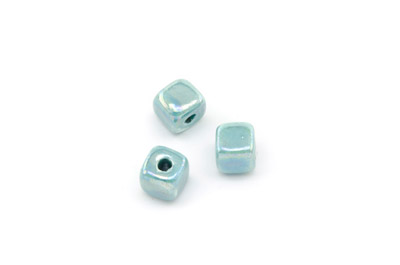 ceramic cube 8mm aqua x25pcs