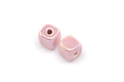 ceramic cube 12mm baby pink x25pcs