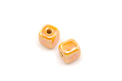 ceramic cube 12mm orange x25pcs