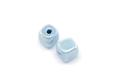 ceramic cube 12mm light turquoise x25pcs