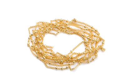 brass chain fine 1mm with ball gold color x2m