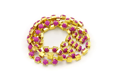 steel chain acrylic stone 4mm gold fuchsia x2m