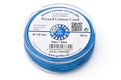 blue cotton thread 1,5mm 20m reel x1pce
