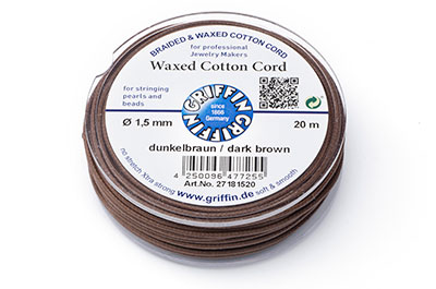 brown cotton thread 1,5mm 20m reel x1pce