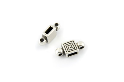 connector square for 6mm flat leather and 2mm cord x10pcs