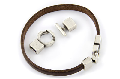 T clasp 30mm for 6mm flat leather x5pcs