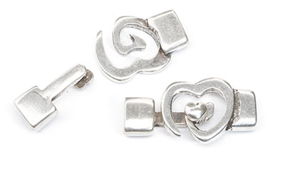 T Heart Clasp 32x20mm for lanyard 10mm x3pcs