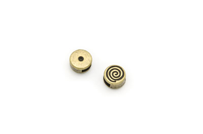 slider bead round spiral 10mm antique bronze x20pcs