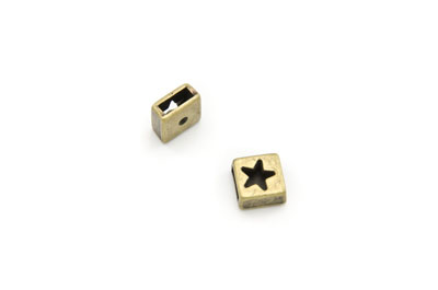 slider bead square star 10mm antique bronze x20pcs