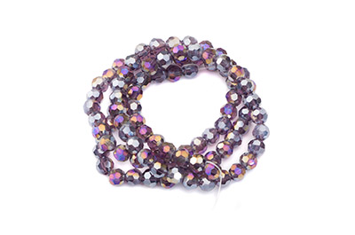 faceted glass bead round 4mm amethyst AB x100pcs approx
