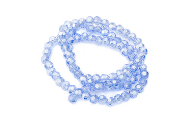 faceted glass bead round 4mm light blue AB x100pcs approx