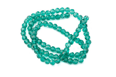 faceted glass bead round 4mm green emerald x100pcs approx