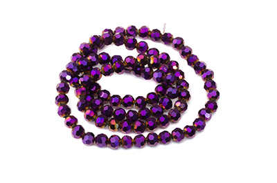 faceted glass bead round 4mm metallic purple x100pcs approx