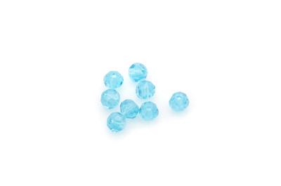 faceted glass round 6mm cyan x100pcs