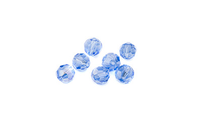faceted glass bead round 8mm light blue AB x72pcs