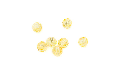 faceted glass bead round 8mm yellow x72pcs