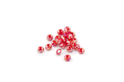 facettiert Glass Scheibe 3x4mm opac AB rot x100pcs