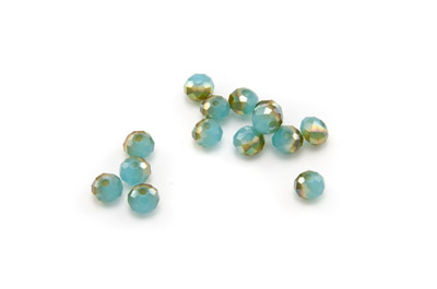 faceted glass rondelle 5x6mm aqua beige x100pcs