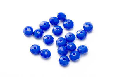 faceted glass rondelle 6x8mm electric blue x90pcs