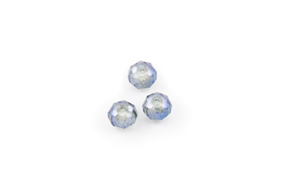 faceted glass rondelle 8x10mm blue grey x72pcs