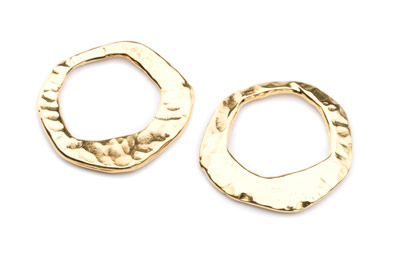 flat ring hammered 27mm irregular gold color x10pcs
