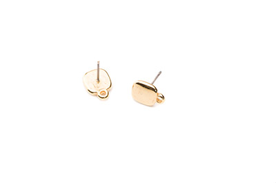 earring square 9mm gold color x12pcs