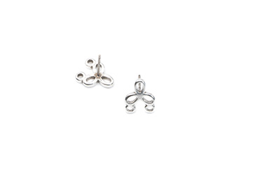 earring flower 12mm with 2 eyes x12pcs
