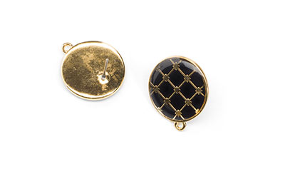black enamelled earring 19mm with ring x6pcs