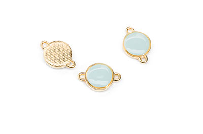 golden aqua enamel connector 12mm with 2 rings x8pcs