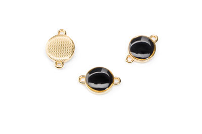 black enamelled gold connector 12mm with 2 rings x8pcs