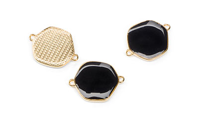 18mm black enamelled gold connector with 2 rings x6pcs