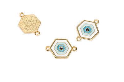 gold enameled white / blue 14mm connector with 2 rings x8pcs