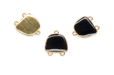 20X17mm black enamelled gold connector with 3 rings x6pcs