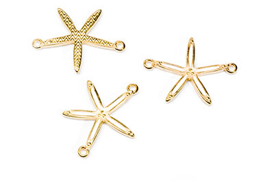 connectors 2 starfish rings 26x20mm golden x6pcs