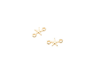 connector 2 eyes mini starfish 13x8mm gold color x30pcs