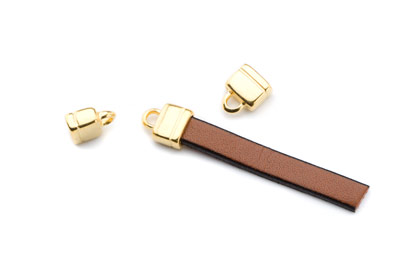 ending for 6mm flat leather 11x9mm gold color x20pcs