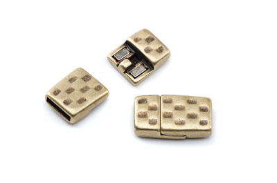 magnet clasp hammered 24x14mm bronze for 10mm flat leather x5pcs
